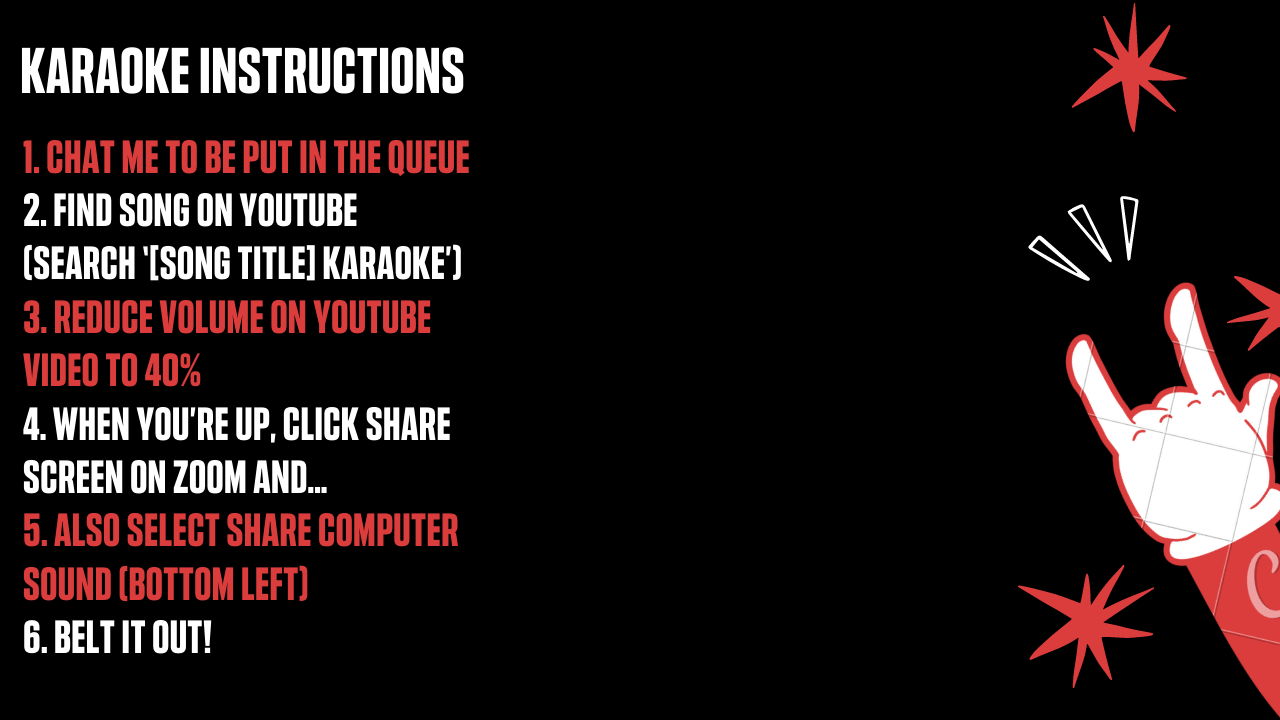 Zoom background karaoke instructions