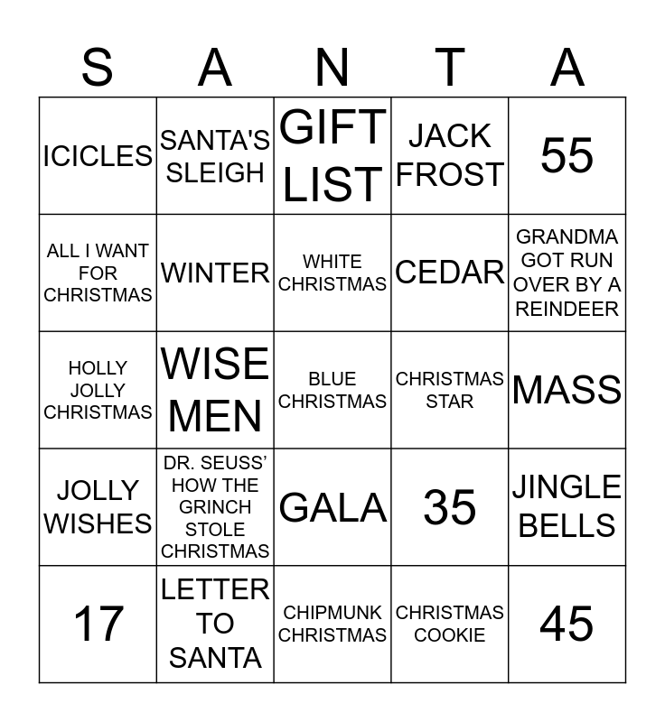 Merry Christmas virtual bingo game